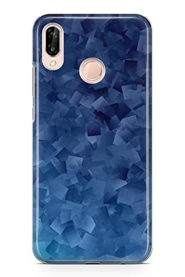 Lopard P20 Lite Kılıf Silikon Arka Kapak Koruyucu Mavi Kareler Desenli Full HD Baskılı Renkli
